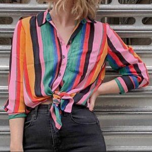 Who What Wear Multicolored Striped Blouse, Medium